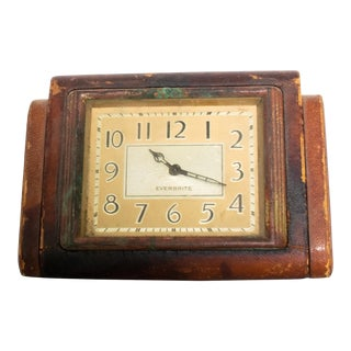 Everbrite Desk Clock Fabulously Smart Distressed Leather Modern 1950s For Sale