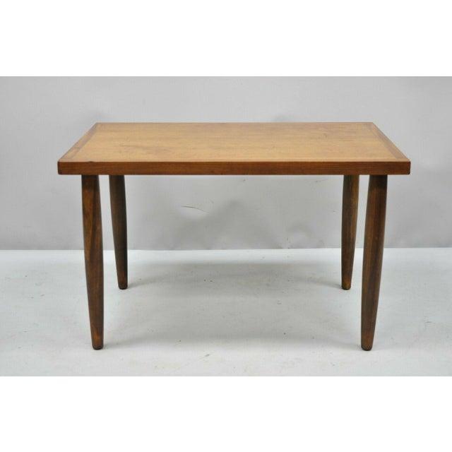 Vintage mid century modern walnut rectangular side table danish style. Item features beautiful wood grain, removable...