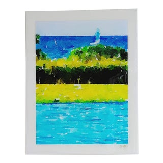 Poolside Seascape - Contemporary Tropical Seascape Digital Watercolor Print by Suzanne MacCrone Rogers For Sale