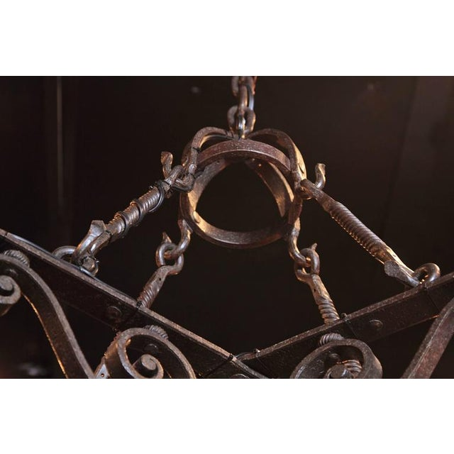 19th Century French Gothic Black Hand-Forged Wrought Iron Four-Light Chandelier For Sale - Image 9 of 10