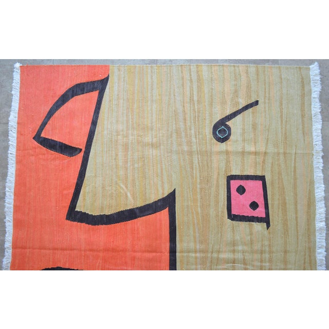 Silk Paul Klee - Silence of the Angel - Inspired Silk Hand Woven Area - Wall Rug 4′6″ × 5′7″ For Sale - Image 7 of 11