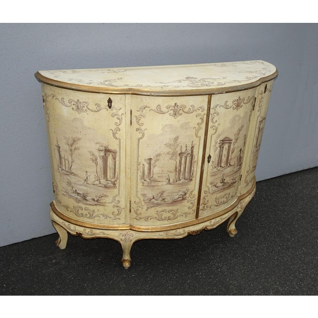 Antique French Country Italian White Hand Painted Demilune Chest Made in Italy For Sale - Image 4 of 13