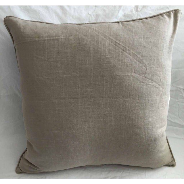 A handmade pair of Lee Jofa's Emir accent pillows with a solid, cotton, natural backs. Each pillow has a zipper for...