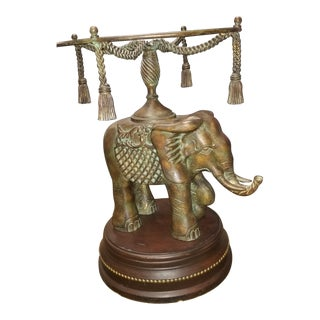Bronze Elephant Pedestal Side Table For Sale