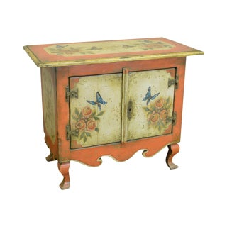 Colonial Brazil Rustic Hand Painted Console Cabinet w/ Butterflies For Sale