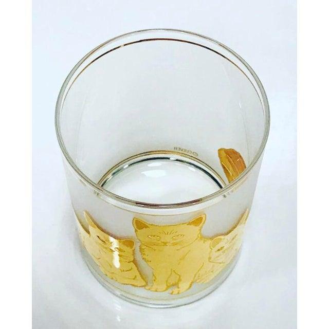 Culver Ltd. Vintage Mid-Century Modern 22k Gold Cat Etched Culver Glasses - Set of 4 For Sale - Image 4 of 6