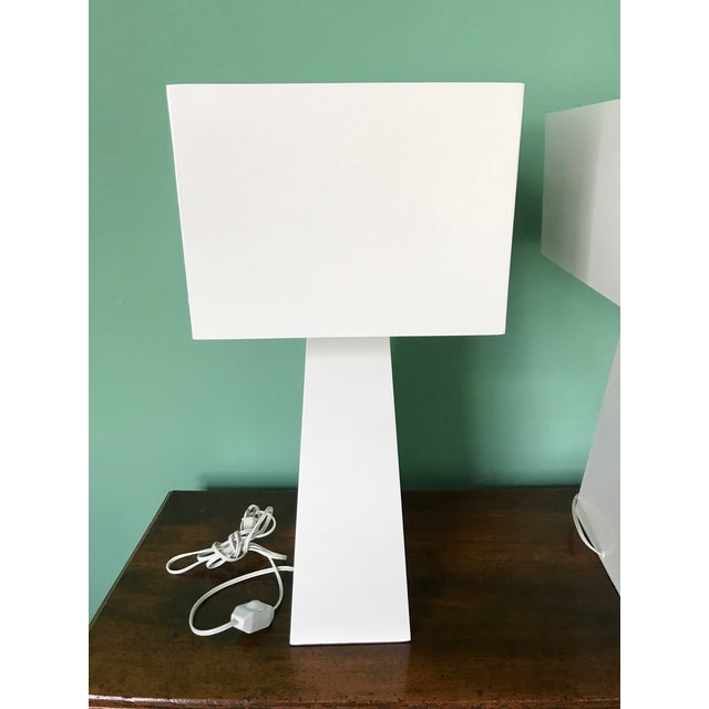 George Kovacs Pair of White Enamel Table Lamps by George Kovacs For Sale - Image 4 of 7