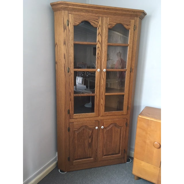 1980s 1980s Traditional Amish Made Oak Corner Cabinet For Sale - Image 5 of 5