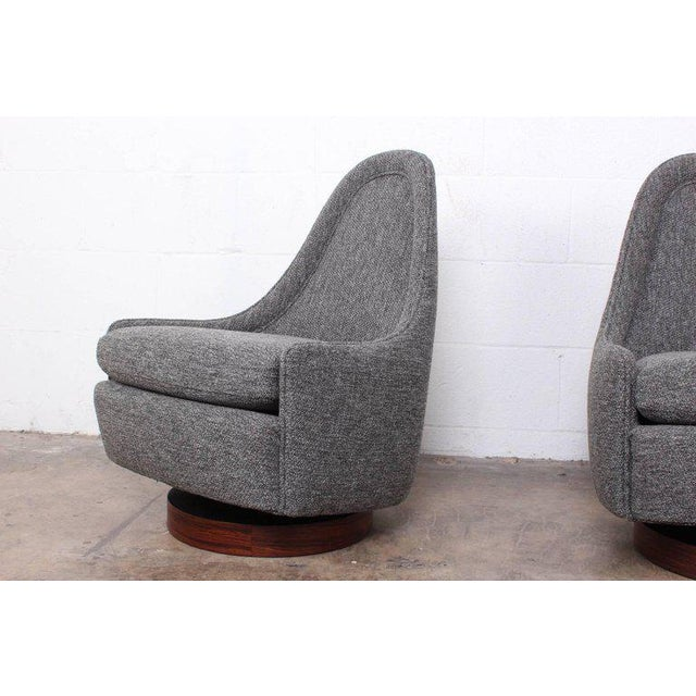 Pair of Petite Rocking Swivel Chairs by Milo Baughman For Sale - Image 10 of 13