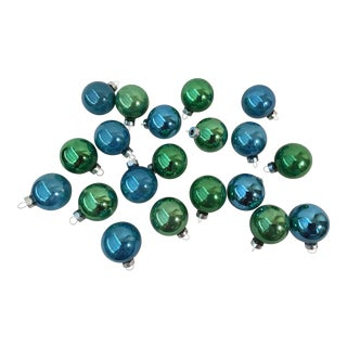 Vintage Blue and Green Glass Christmas Balls - Set of 20 For Sale