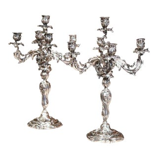 Pair of 19th Century French Louis XV Bronze Silvered Five-Arm Candelabra