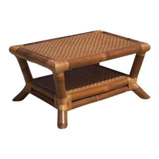 1960s Boho Chic Stalk Bamboo and Rattan Coffee Table For Sale