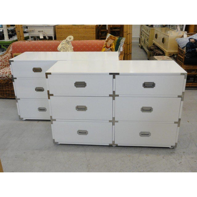 Newly Lacquered Campaign Chest with polished chrome hardware. They are in good as found vintage condition.
