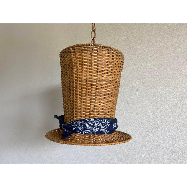 Gabriella Crespi Wicker Top Hat Pendant Light For Sale - Image 4 of 10