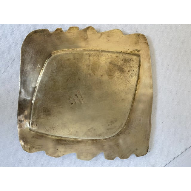 Mid-Century Modern Mexican Artist Salvador Teran Brass and Glass Tile Trinket Tray For Sale - Image 3 of 4