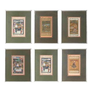 Indian Miniature Framed Paintings- Set of 6 For Sale