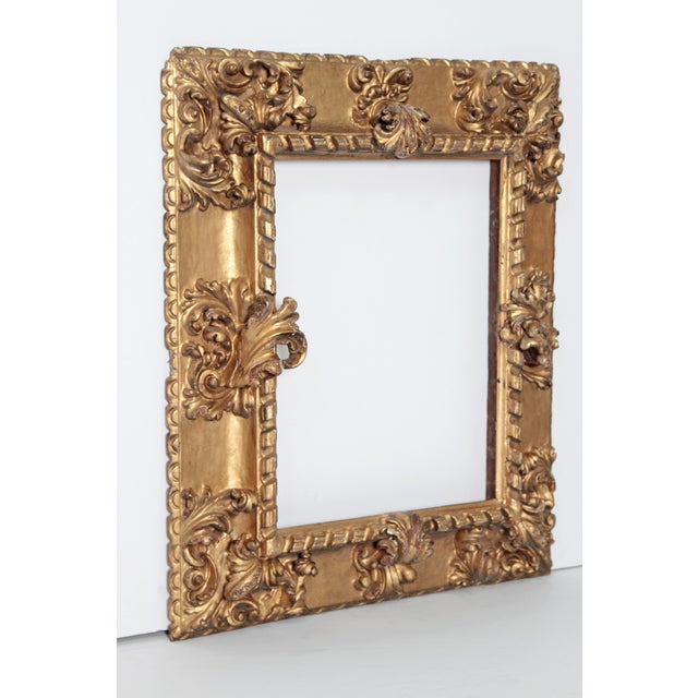 Baroque Rare 17th Century Giltwood Italian Picture Frame For Sale - Image 3 of 11