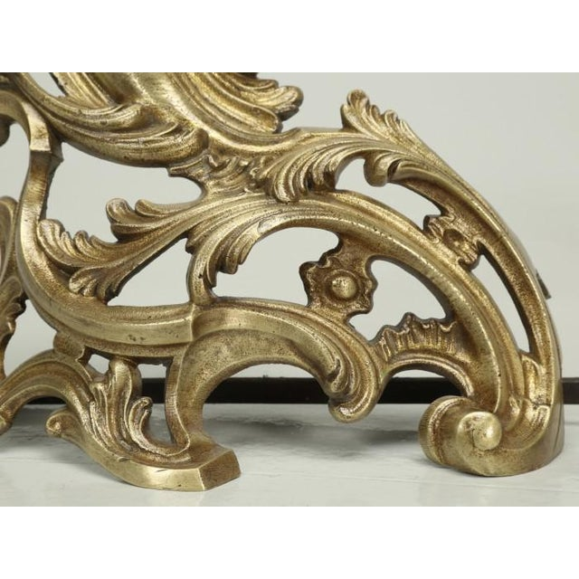 Metal Antique French Solid Bronze Andirons or Chenets - a Pair For Sale - Image 7 of 9