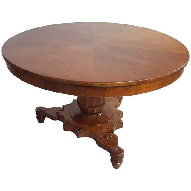 19th Century Italian Empire Walnut Carved Inlay Round Table For Sale - Image 13 of 13