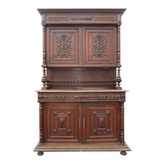 Antique 19th Century French Spanish Style Hunters Cabinet Hutch China Cabinet For Sale