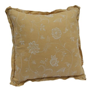 1960s Mid-Century Modern Mustard Yellow Down Pillow With White Floral Embroidery For Sale