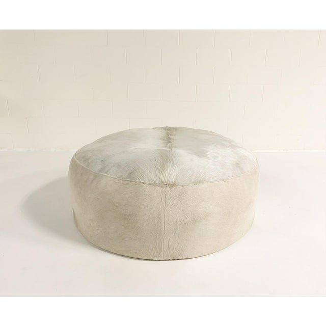 2010s Forsyth Large Round Cowhide Ottoman For Sale - Image 5 of 5