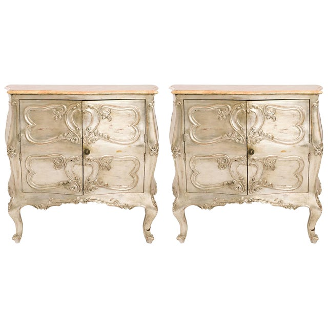 Pair of 1950s Italian Silver Leaf Wood Cabinets For Sale