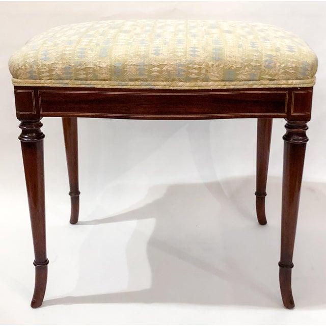 English Traditional Antique English Mahogany Edwardian Bench, Circa 1890-1900. For Sale - Image 3 of 3