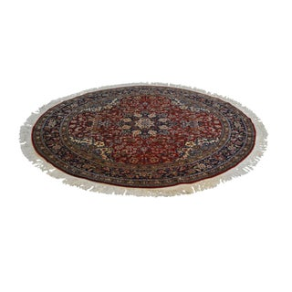 "Hand Tied Red & Blue 60"" Round Area Rug For Sale"