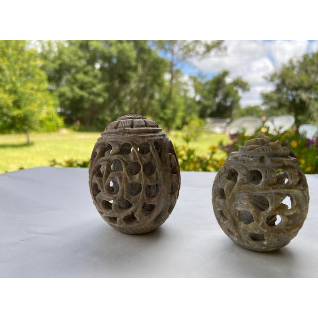 Vintage Stone Hand-Carved Eggs- a Pair For Sale - Image 10 of 12