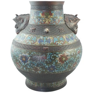 Qing Chinese Cloisonne Bronze Decorated Vase 19th Century For Sale