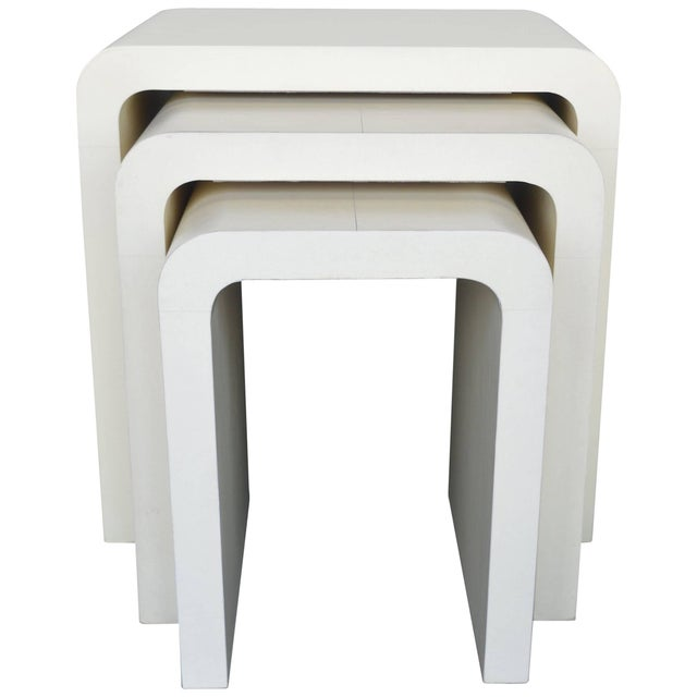1960s Mid-Century Modern Creme Nesting Tables - Set of 3 For Sale - Image 4 of 4
