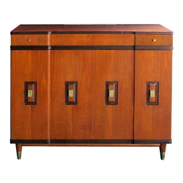 how fantastic is this dressing cabinet/chest?; flip-up top with interior mirror and fitted compartment; above a shaped...