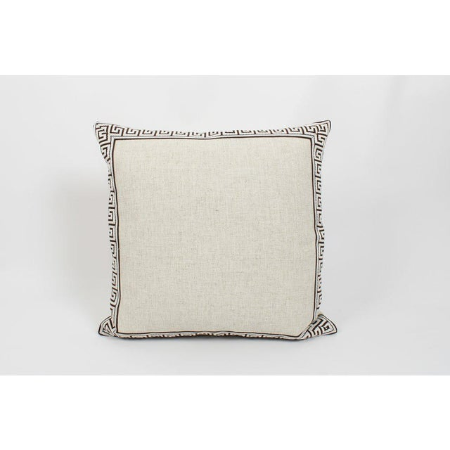 Traditional Oatmeal and Chocolate Greek Key Linen Pillows, a Pair For Sale - Image 3 of 6