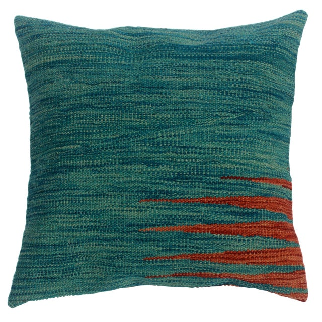 "Destiny Blue/Rust Hand-Woven Kilim Throw Pillow(18""x18"") For Sale"