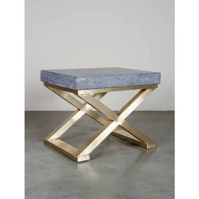 Brass Cross Leg Table with Stone Top Qing Shi Stone (Black Stone) Hand Carved Brass Base Hand Repoussé Limited Edition