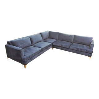 Aria Blue Velvet Sectional Sofa