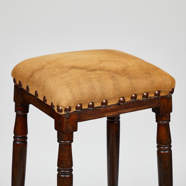Late 19th Century Late 19th Century English Tall Upholstered Stool With Bottom Shelf For Sale - Image 5 of 10