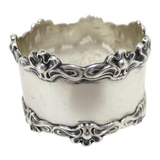Antique Art Nouveau Sterling Silver Napkin Ring For Sale