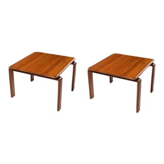 1970s Solid Teak Danish Modern Floating Top End Tables - a Pair