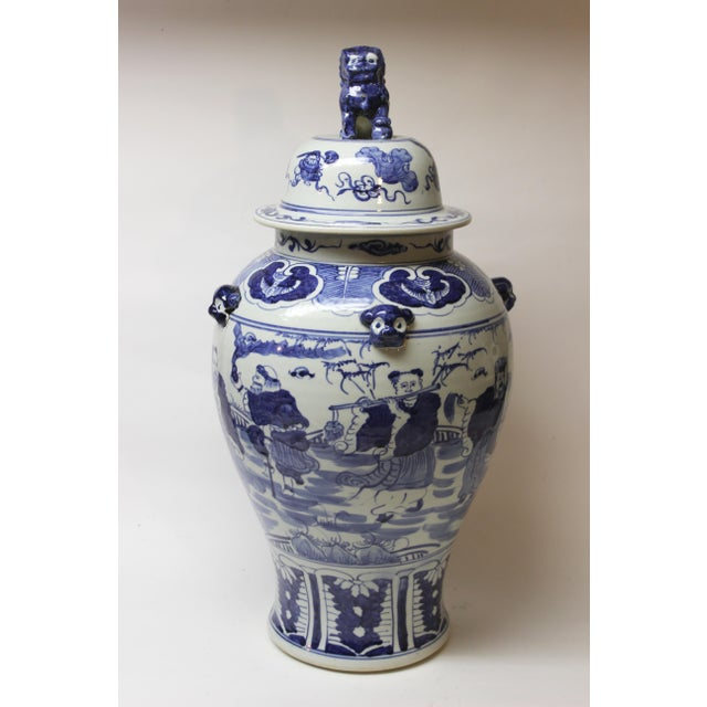 Large Chinese Blue and White Covered Jar For Sale - Image 11 of 12