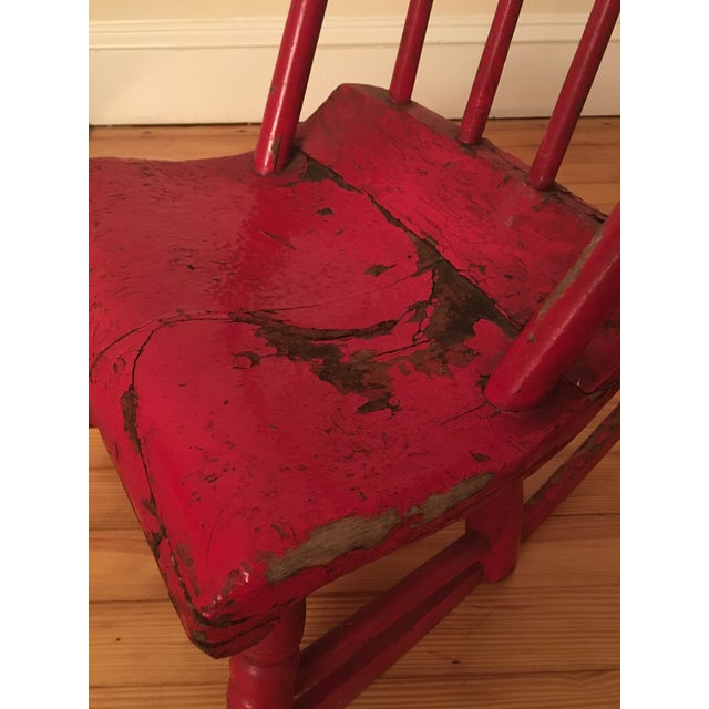 Early 19th Century Early 19th Century Child's Rustic Red Wooden Rocking Chair For Sale - Image 5 of 10