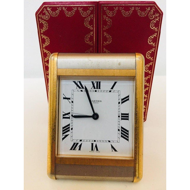 Cartier Two-Tone Gold and Steel Tank Desk Clock For Sale - Image 9 of 13
