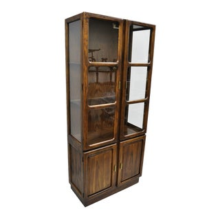 1970s Vintage Mid Century Modern Oak & Glass Curio China Cabinet For Sale