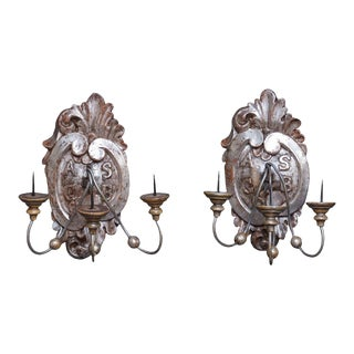 Pair of Silver Gilt Wall Sconces For Sale