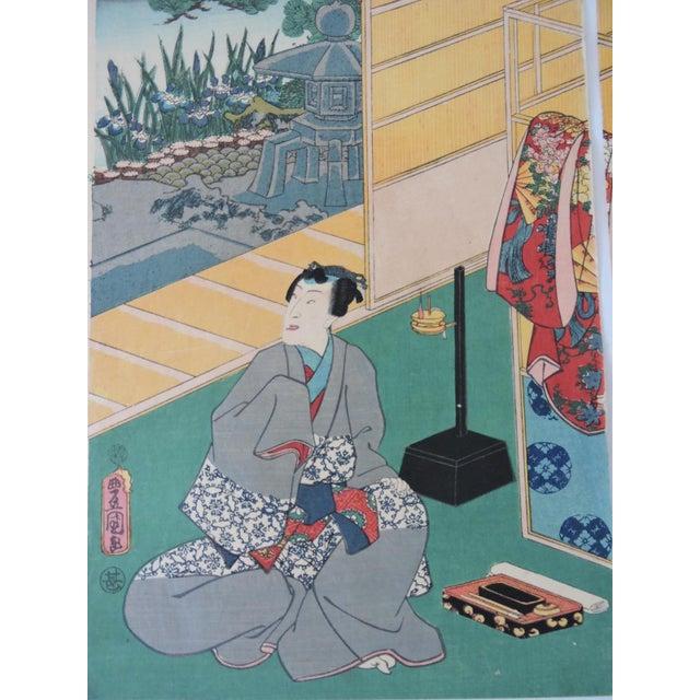 Utagawa Kunisada (Toyokuni Iii) Antique Japanese Ukiyo-E Woodblock Triptych of Prince Genji by Utagawa Kunisada 1786-1865 For Sale - Image 4 of 11