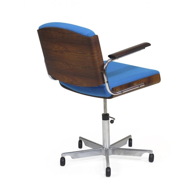 1960s Danish Rosewood and Chrome Office Chair in Turquoise Wool For Sale - Image 5 of 10