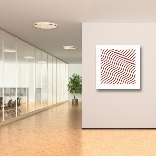 Artist: Chuck Krause (1949) Title: Waves (Red) Year: 2020 Medium: Sculpted composite board mounted to colored substrate...
