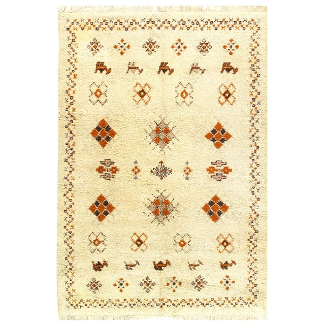 Ivory Vintage Moroccon Rug 6'5'' X 9'5'' For Sale - Image 4 of 4