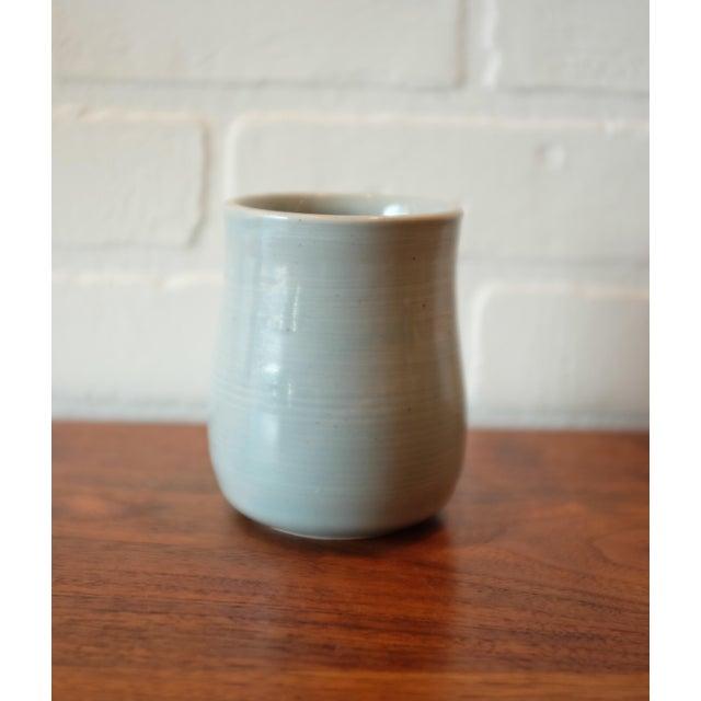 Boho Chic Handmade Baby Blue Studio Pottery Ceramic Vessel For Sale - Image 3 of 7